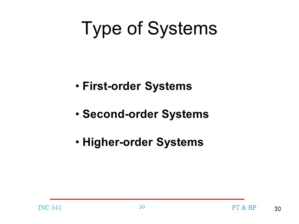 30 INC 341 30 PT & BP Type of Systems First-order Systems Second-order Systems Higher-order Systems