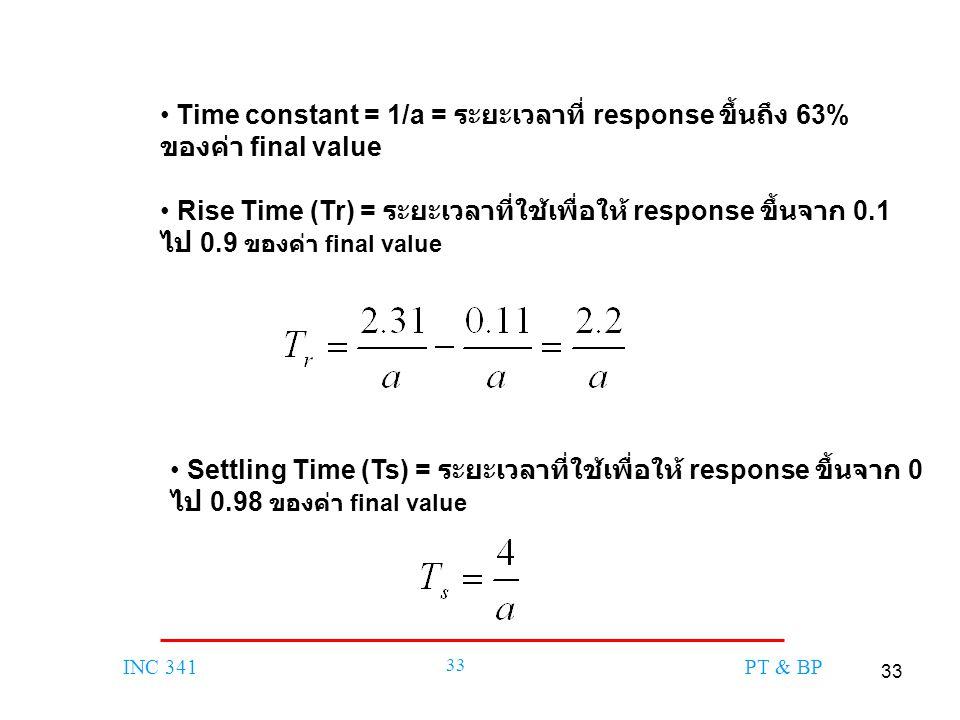 33 INC 341 33 PT & BP Time constant = 1/a = ระยะเวลาที่ response ขึ้นถึง 63% ของค่า final value Rise Time (Tr) = ระยะเวลาที่ใช้เพื่อให้ response ขึ้นจ
