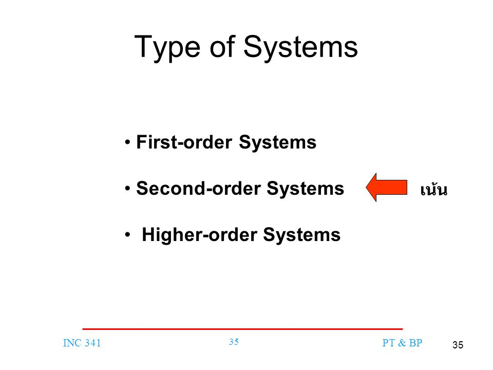 35 INC 341 35 PT & BP Type of Systems First-order Systems Second-order Systems Higher-order Systems เน้น