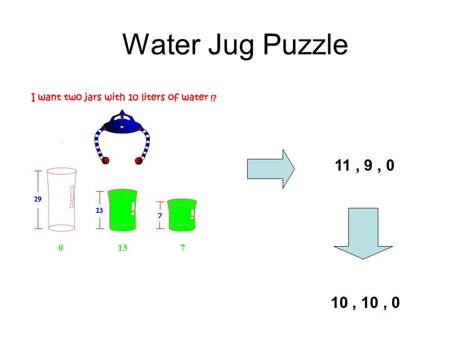 Water Jug Puzzle 11, 9, 0 10, 10, 0