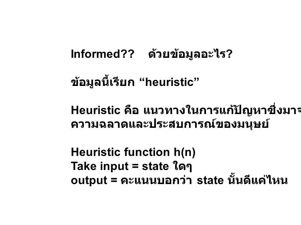"""Informed?? ด้วยข้อมูลอะไร ? ข้อมูลนี้เรียก """"heuristic"""" Heuristic คือ แนวทางในการแก้ปัญหาซึ่งมาจาก ความฉลาดและประสบการณ์ของมนุษย์ Heuristic function h("""