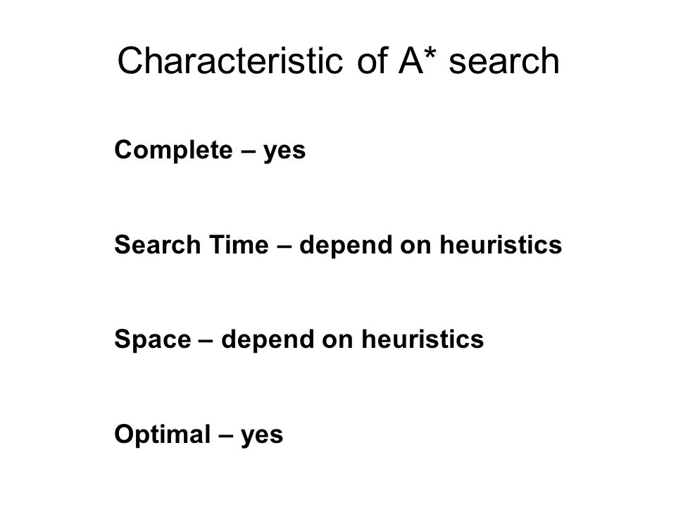 Characteristic of A* search Complete – yes Search Time – depend on heuristics Space – depend on heuristics Optimal – yes