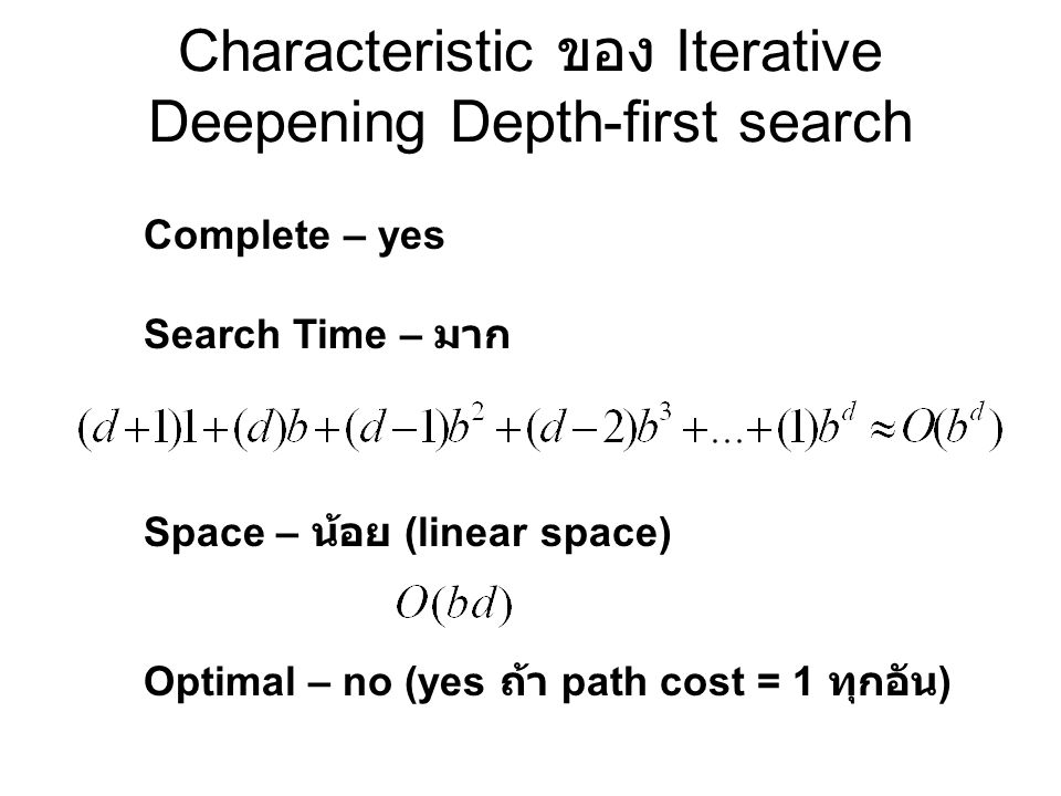 Real Number: Iterative Deepening Depth-first search Depth-first B=10, d=5 1+10+100+1,000+..+100,000=111,111 Iterative Deepening Depth-first B=10, d=5 6+50+400+3,000+..+100,000=123,456
