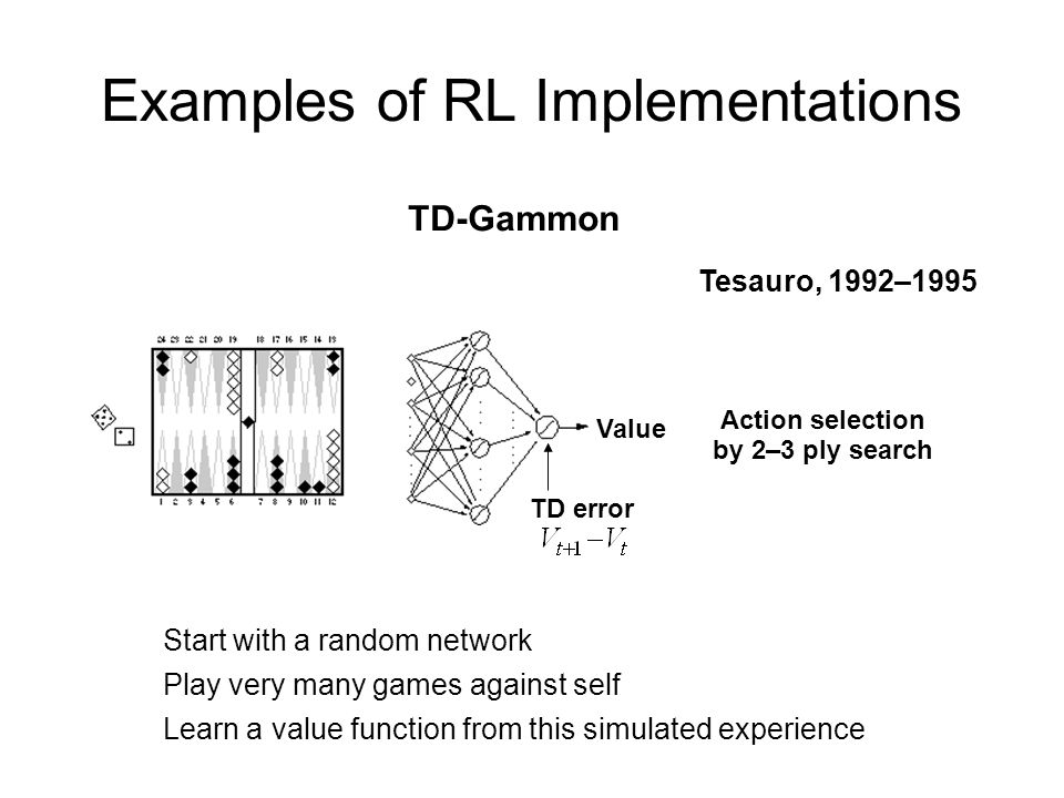Examples of RL Implementations Start with a random network Play very many games against self Learn a value function from this simulated experience Act