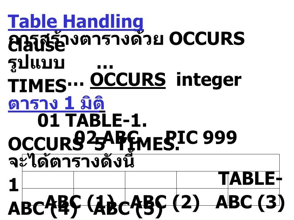 Table Handling การสร้างตารางด้วย OCCURS clause รูปแบบ … … OCCURS integer TIMES ตาราง 1 มิติ 01 TABLE-1. 02 ABC PIC 999 OCCURS 5 TIMES. จะได้ตารางดังนี