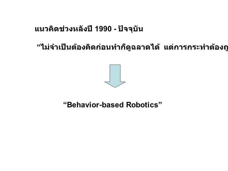 """แนวคิดช่วงหลังปี 1990 - ปัจจุบัน """" ไม่จำเป็นต้องคิดก่อนทำก็ดูฉลาดได้ แต่การกระทำต้องถูกออกแบบมาอย่างดี """" """"Behavior-based Robotics"""""""