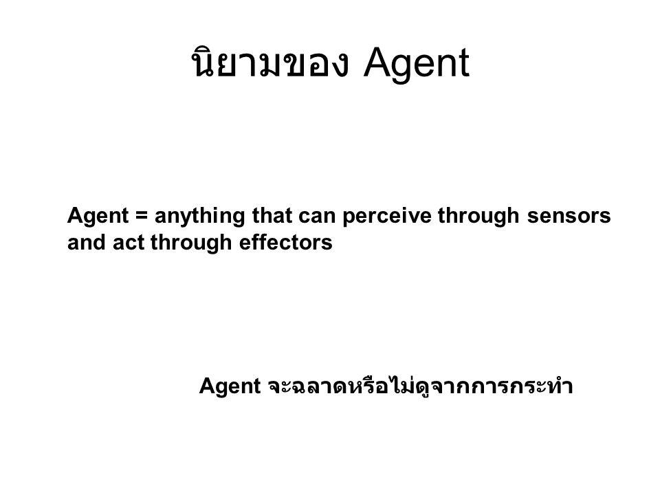 นิยามของ Agent Agent = anything that can perceive through sensors and act through effectors Agent จะฉลาดหรือไม่ดูจากการกระทำ