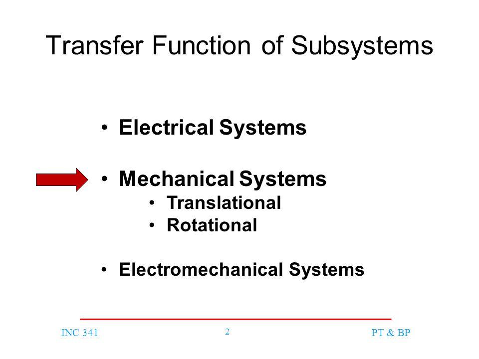 INC 341 3 PT & BP Translational Mechanical System Components