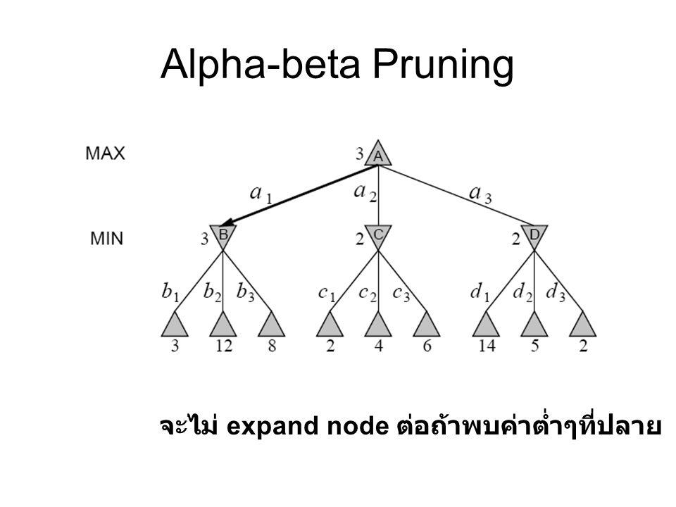 Alpha-beta Pruning จะไม่ expand node ต่อถ้าพบค่าต่ำๆที่ปลาย