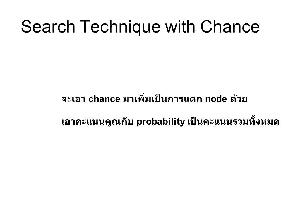 Search Technique with Chance จะเอา chance มาเพิ่มเป็นการแตก node ด้วย เอาคะแนนคูณกับ probability เป็นคะแนนรวมทั้งหมด