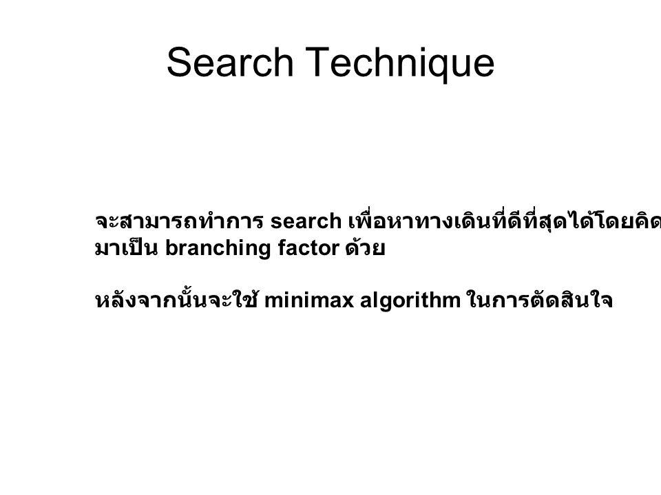 Search Technique จะสามารถทำการ search เพื่อหาทางเดินที่ดีที่สุดได้โดยคิดตาเดินจาก enemies มาเป็น branching factor ด้วย หลังจากนั้นจะใช้ minimax algori