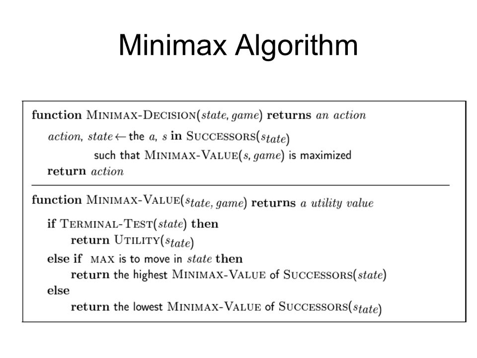 Property of Minimax Complete: ถ้า search tree มีขนาดจำกัด Optimal: yes ถ้า opponent optimal Time Complexity: Space Complexity:( แบบ Depth-first) For a normal chess game: b=35, m=100 Time?.