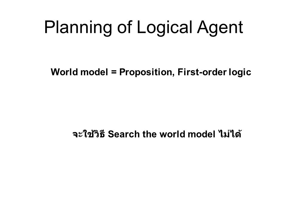 Planning of Logical Agent World model = Proposition, First-order logic จะใช้วิธี Search the world model ไม่ได้