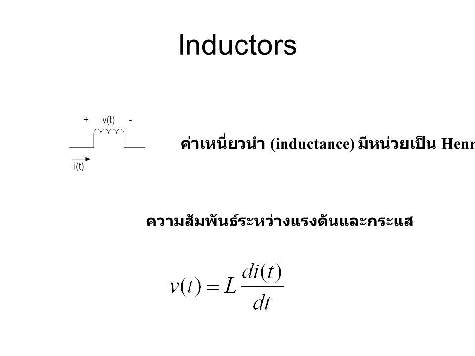 Inductors ค่าเหนี่ยวนำ (inductance) มีหน่วยเป็น Henry (H) ความสัมพันธ์ระหว่างแรงดันและกระแส