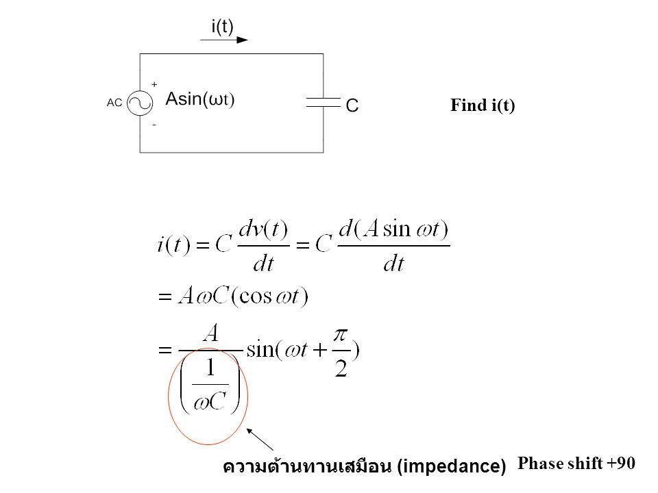 Find i(t) ความต้านทานเสมือน (impedance) Phase shift +90