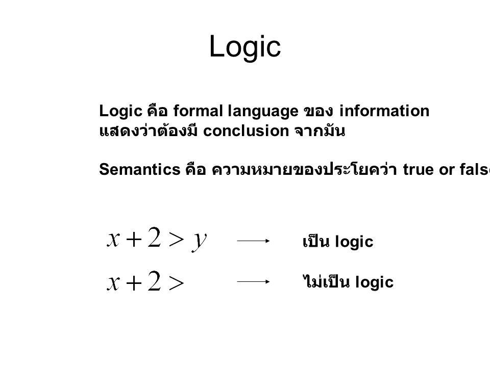 Logic Logic คือ formal language ของ information แสดงว่าต้องมี conclusion จากมัน Semantics คือ ความหมายของประโยคว่า true or false เป็น logic ไม่เป็น lo