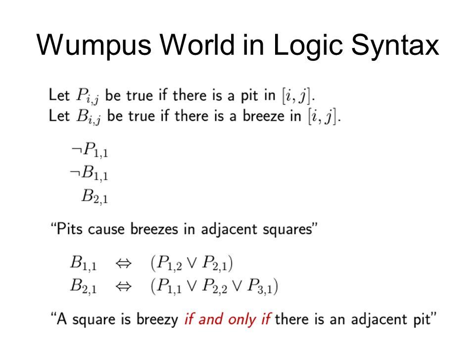 Wumpus World in Logic Syntax