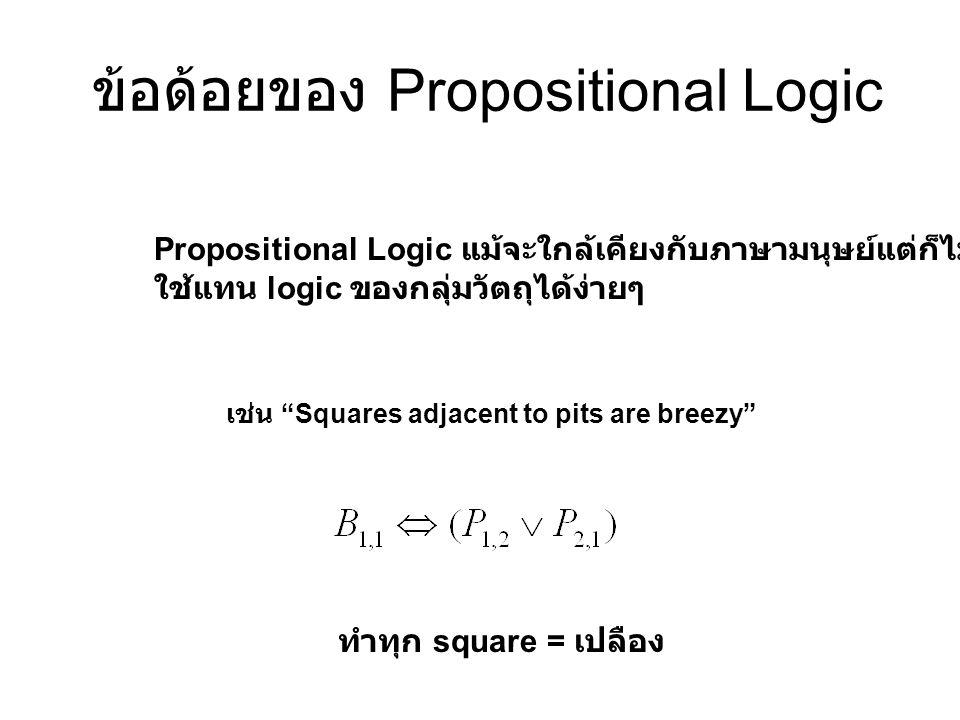 """ข้อด้อยของ Propositional Logic Propositional Logic แม้จะใกล้เคียงกับภาษามนุษย์แต่ก็ไม่สามารถ ใช้แทน logic ของกลุ่มวัตถุได้ง่ายๆ เช่น """"Squares adjacent"""