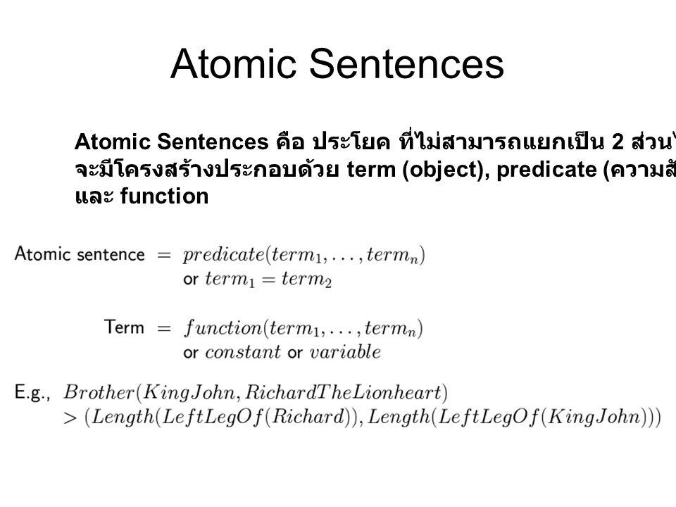 Atomic Sentences Atomic Sentences คือ ประโยค ที่ไม่สามารถแยกเป็น 2 ส่วนได้ จะมีโครงสร้างประกอบด้วย term (object), predicate ( ความสัมพันธ์ ) และ funct