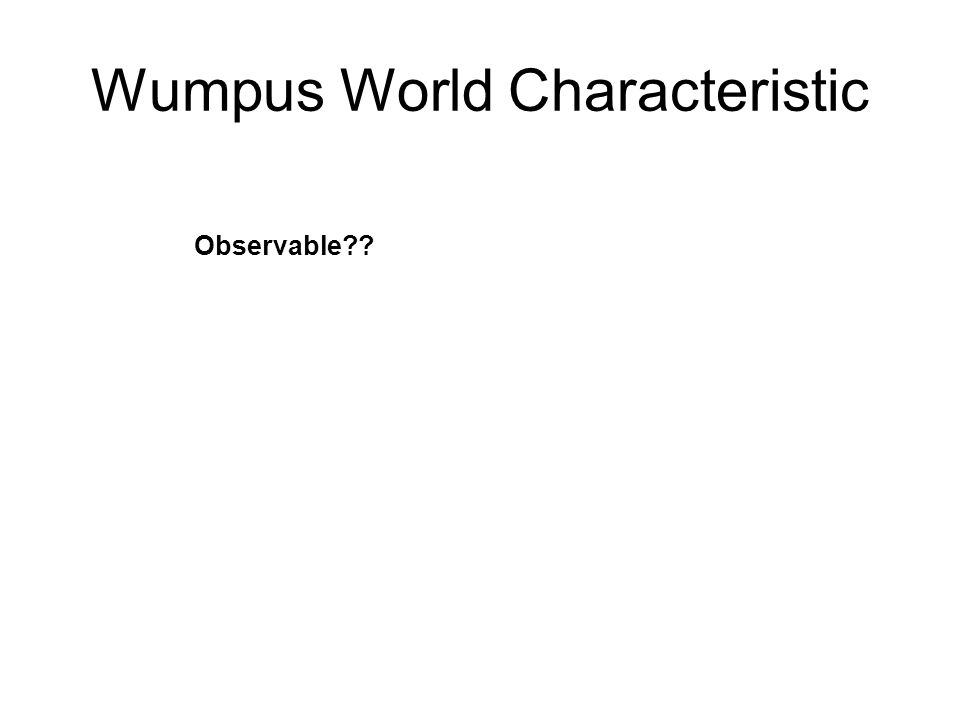Wumpus World Characteristic Observable??