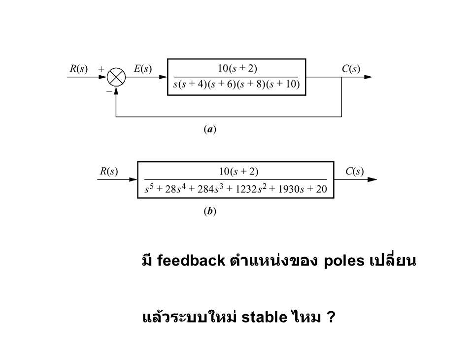มี feedback ตำแหน่งของ poles เปลี่ยน แล้วระบบใหม่ stable ไหม ?