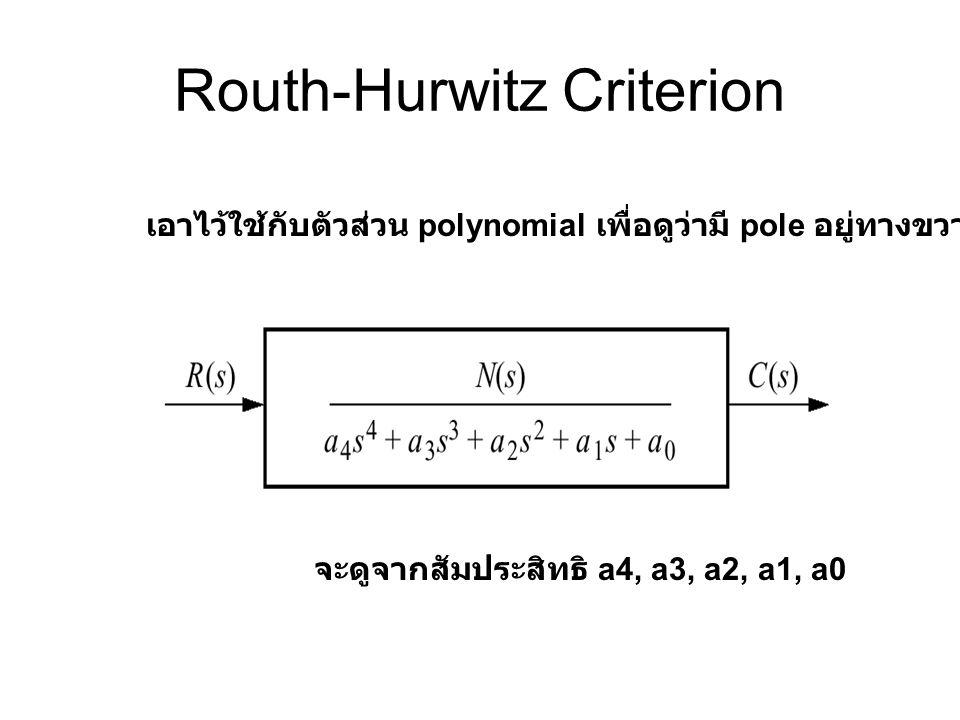 Routh-Hurwitz Criterion เอาไว้ใช้กับตัวส่วน polynomial เพื่อดูว่ามี pole อยู่ทางขวามือหรือไม่ จะดูจากสัมประสิทธิ a4, a3, a2, a1, a0