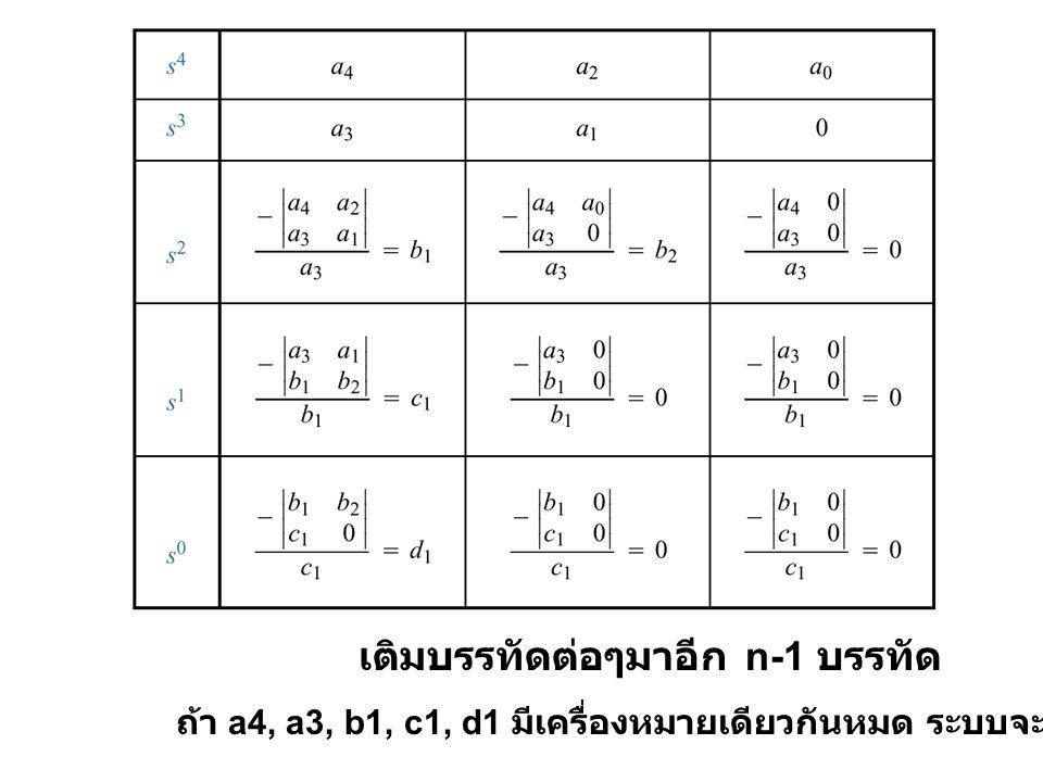 เติมบรรทัดต่อๆมาอีก n-1 บรรทัด ถ้า a4, a3, b1, c1, d1 มีเครื่องหมายเดียวกันหมด ระบบจะ stable