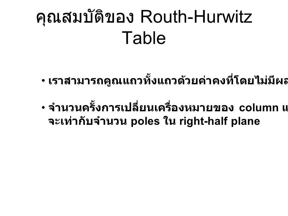 คุณสมบัติของ Routh-Hurwitz Table เราสามารถคูณแถวทั้งแถวด้วยค่าคงที่โดยไม่มีผลกับการหาค่า Root จำนวนครั้งการเปลี่ยนเครื่องหมายของ column แรก จะเท่ากับจ