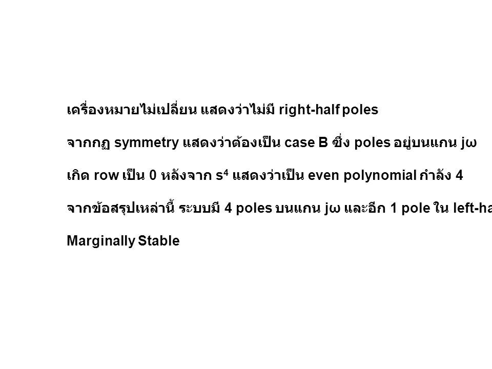 เครื่องหมายไม่เปลี่ยน แสดงว่าไม่มี right-half poles จากกฏ symmetry แสดงว่าต้องเป็น case B ซึ่ง poles อยู่บนแกน jω เกิด row เป็น 0 หลังจาก s 4 แสดงว่าเ