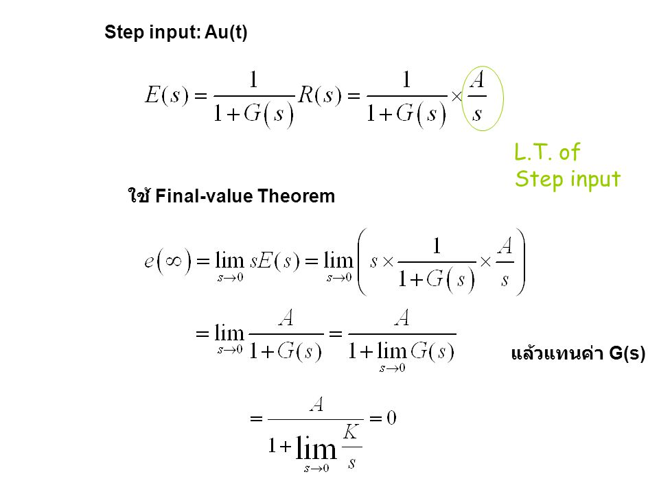 Step input: Au(t) L.T. of Step input ใช้ Final-value Theorem แล้วแทนค่า G(s)