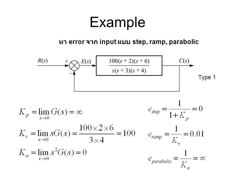 Example หา error จาก input แบบ step, ramp, parabolic Type 1