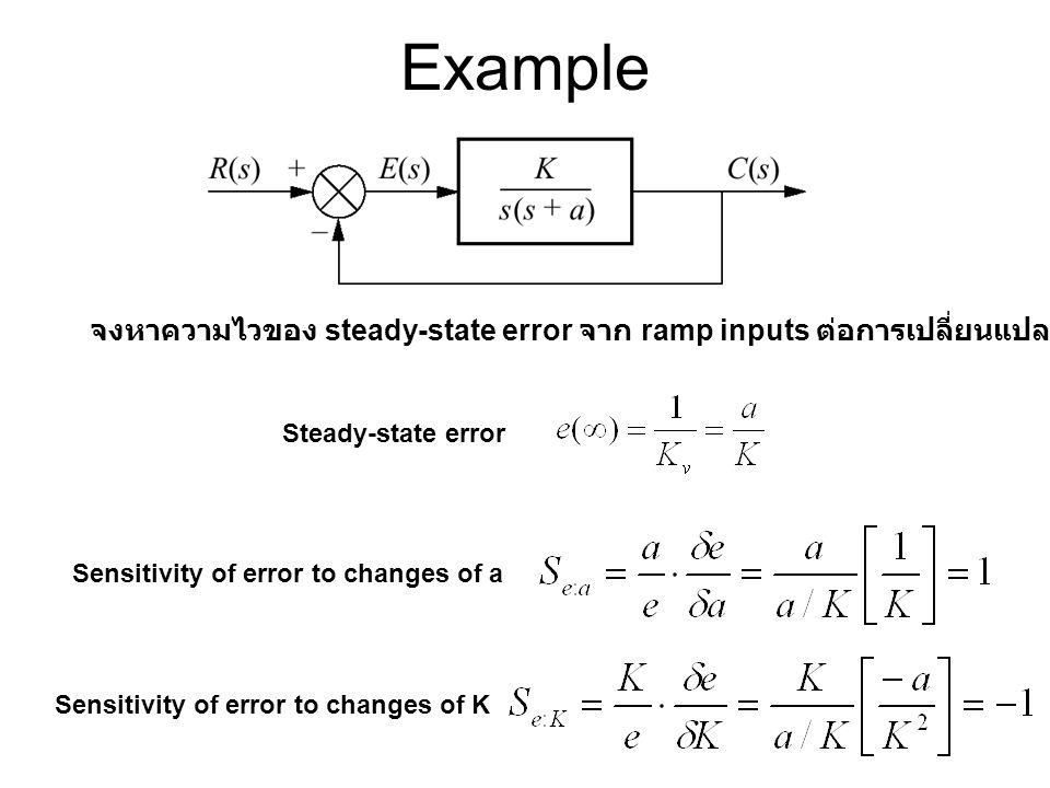 Example จงหาความไวของ steady-state error จาก ramp inputs ต่อการเปลี่ยนแปลงของ a และ K Steady-state error Sensitivity of error to changes of a Sensitiv