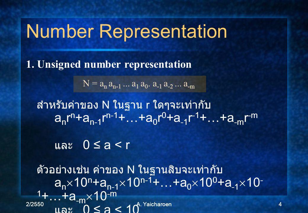 2/2550A. Yaicharoen4 1. Unsigned number representation N = a n a n-1... a 1 a 0. a -1 a -2... a -m สำหรับค่าของ N ในฐาน r ใดๆจะเท่ากับ a n r n +a n-1