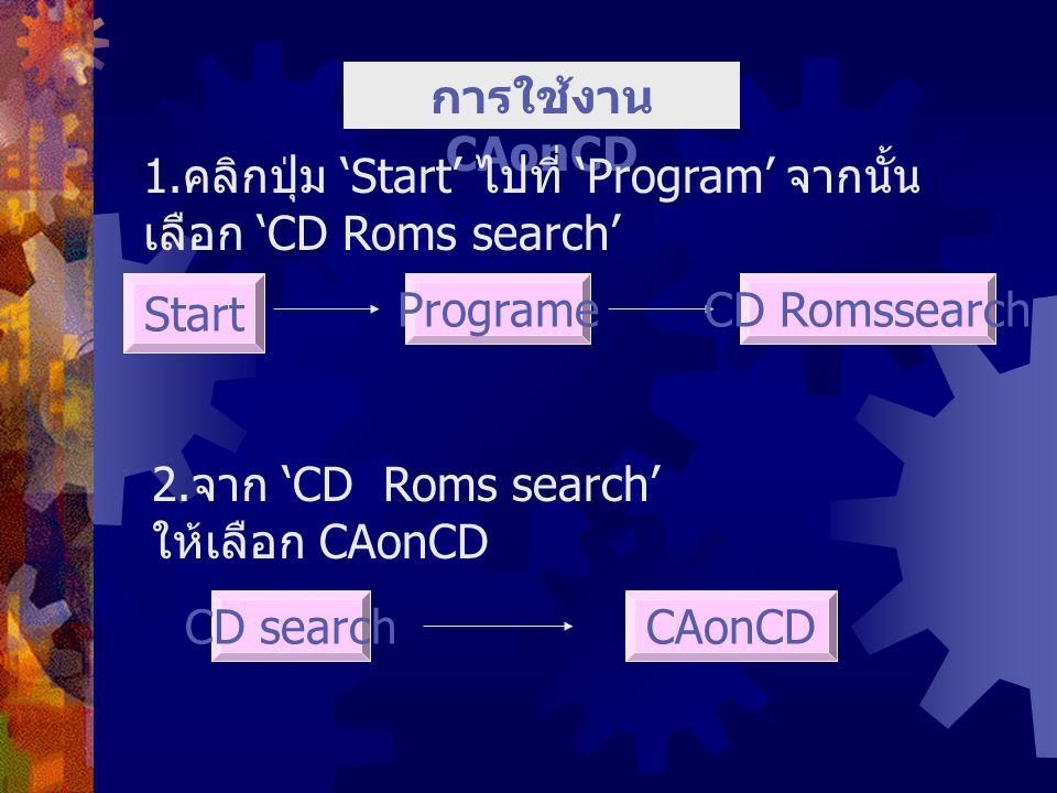 การใช้งาน CAonCD 1. คลิกปุ่ม 'Start' ไปที่ 'Program' จากนั้น เลือก 'CD Roms search' Start ProgrameCD Romssearch 2. จาก 'CD Roms search' ให้เลือก CAonC