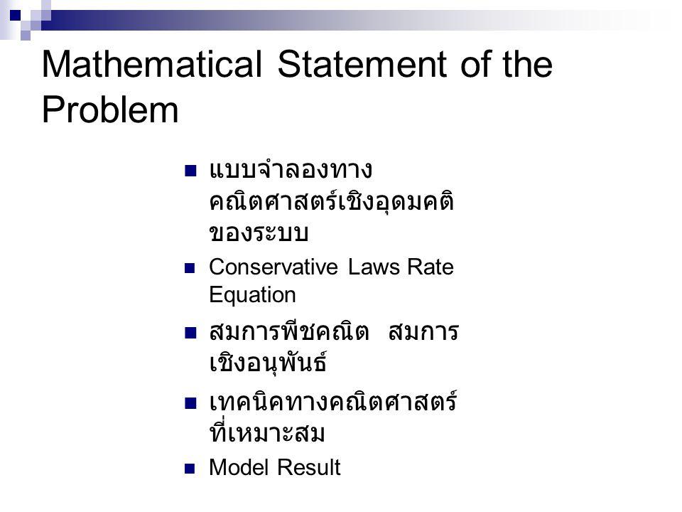 Mathematical Statement of the Problem แบบจำลองทาง คณิตศาสตร์เชิงอุดมคติ ของระบบ Conservative Laws Rate Equation สมการพีชคณิต สมการ เชิงอนุพันธ์ เทคนิคทางคณิตศาสตร์ ที่เหมาะสม Model Result