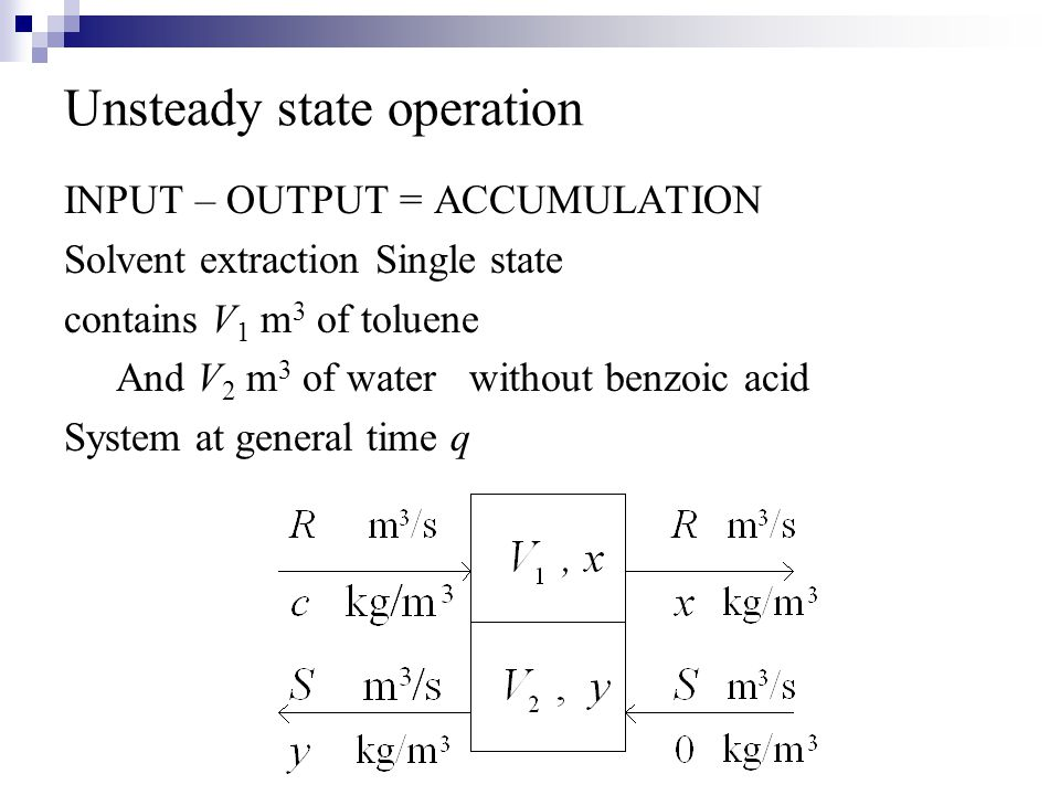 Unsteady state operation INPUT – OUTPUT = ACCUMULATION Solvent extraction Single state contains V 1 m 3 of toluene And V 2 m 3 of water without benzoi