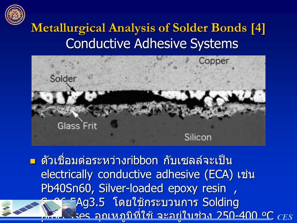 Metallurgical Analysis of Solder Bonds [4] ตัวเชื่อมต่อระหว่าง ribbon กับเซลล์จะเป็น electrically conductive adhesive (ECA) เช่น Pb40Sn60, Silver-load