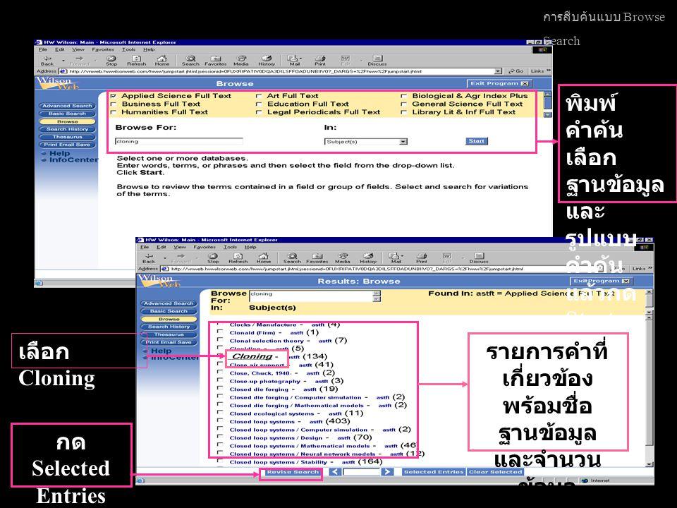 การสืบค้นแบบ Browse Search พิมพ์ คำค้น เลือก ฐานข้อมูล และ รูปแบบ คำค้น แล้วกด Start รายการคำที่ เกี่ยวข้อง พร้อมชื่อ ฐานข้อมูล และจำนวน ข้อมูล ที่ค้นได้ เลือก Cloning กด Selected Entries