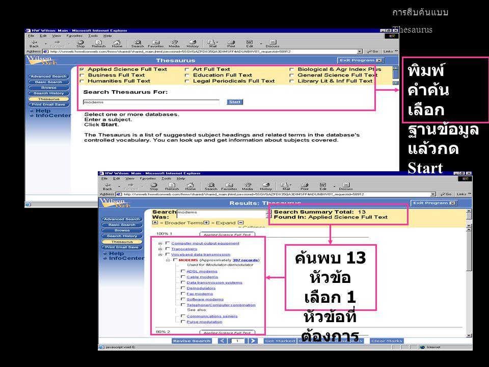 การสืบค้นแบบ Thesaurus ค้นพบ 13 หัวข้อ เลือก 1 หัวข้อที่ ต้องการ พิมพ์ คำค้น เลือก ฐานข้อมูล แล้วกด Start