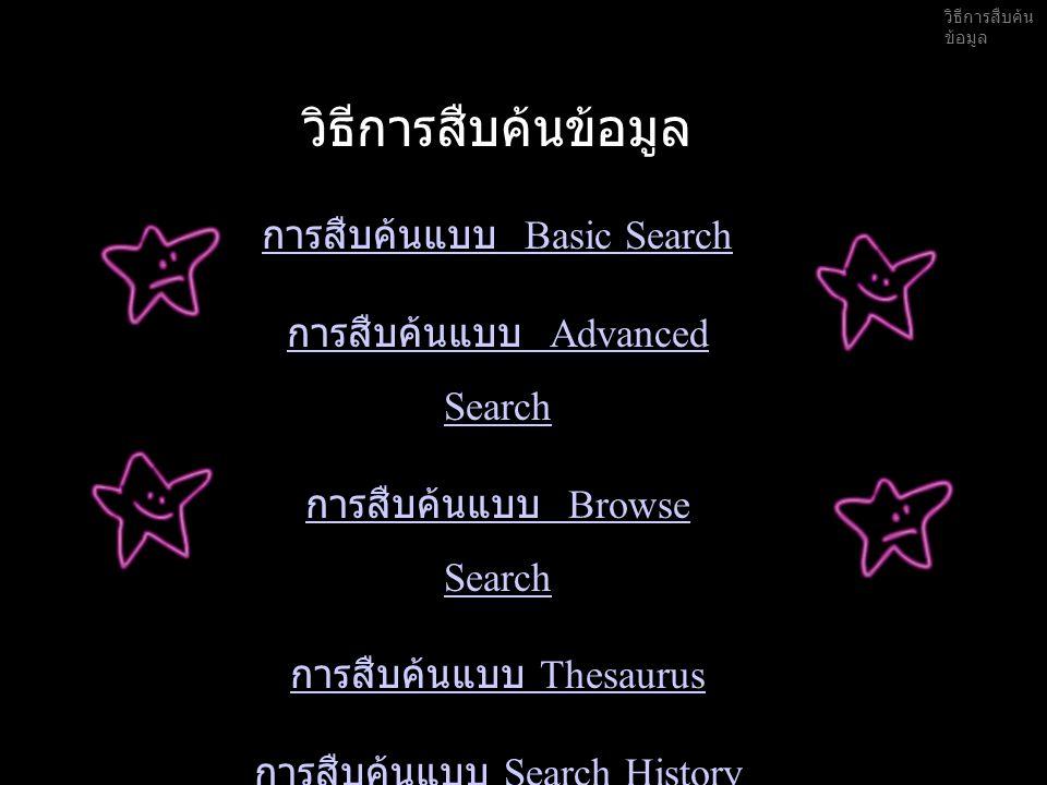 1.Basic Search 2.เลือกฐานข้อมูลสาขาต่างๆ 3. พิมพ์คำ หรือ กลุ่มคำที่ต้องการสืบค้น 4.
