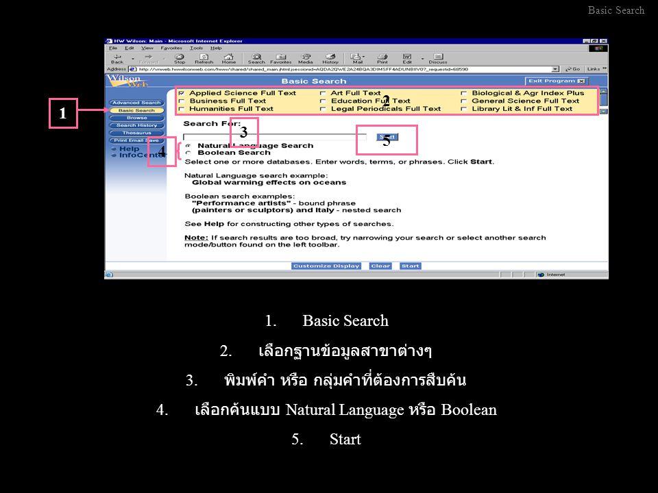 1.Basic Search 2. เลือกฐานข้อมูลสาขาต่างๆ 3. พิมพ์คำ หรือ กลุ่มคำที่ต้องการสืบค้น 4.
