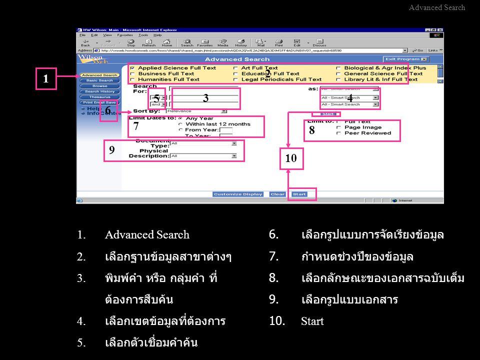 Browse Search 1 2 34 5 1.Browse Search 2.เลือกฐานข้อมูลสาขาต่างๆ 3.
