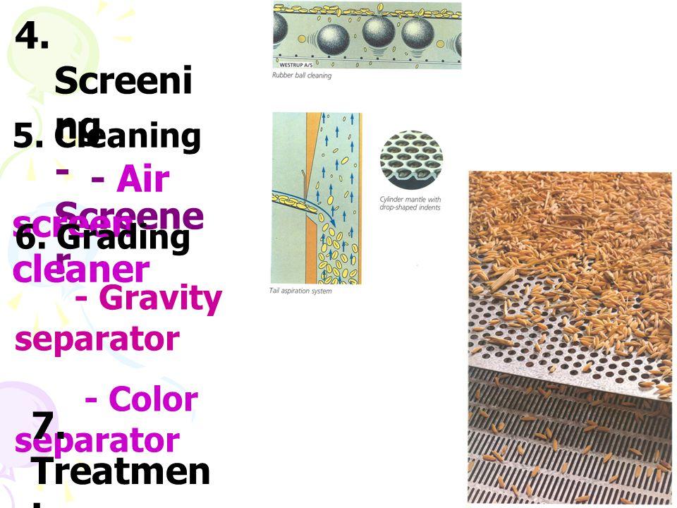 4. Screeni ng - Screene r 5. Cleaning - Air screen cleaner 6. Grading - Gravity separator - Color separator 7. Treatmen t - Fumigation