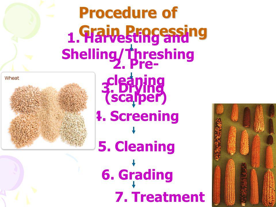* Procedure of Grain Processing * 1.Harvesting and Precleaning - Combine harvestor - Scalper (Picking on a belt, large screener ) - Thresher/Sheller - Debearder