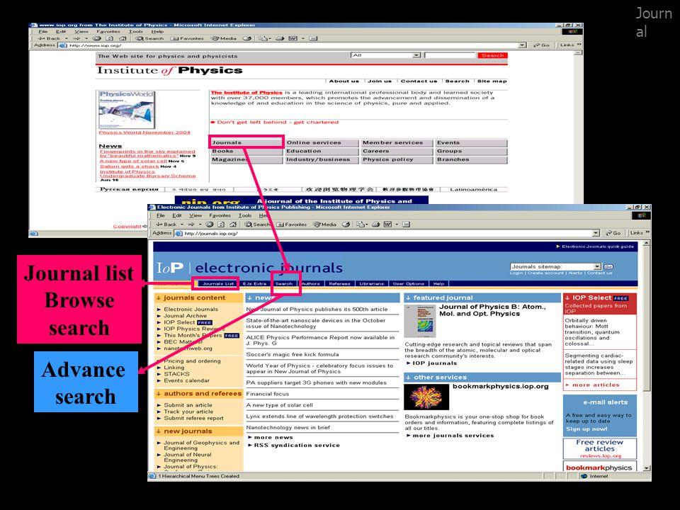Browse search Journal list : เป็นการสืบค้น โดยการ Browse มีทั้งการเรียงตาม Title, Subject และ Publishing Partner