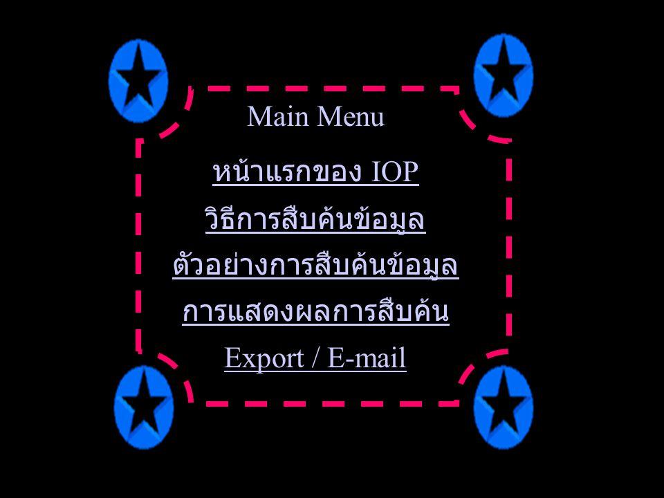 Main Menu หน้าแรกของ IOP วิธีการสืบค้นข้อมูล ตัวอย่างการสืบค้นข้อมูล การแสดงผลการสืบค้น Export / E-mail
