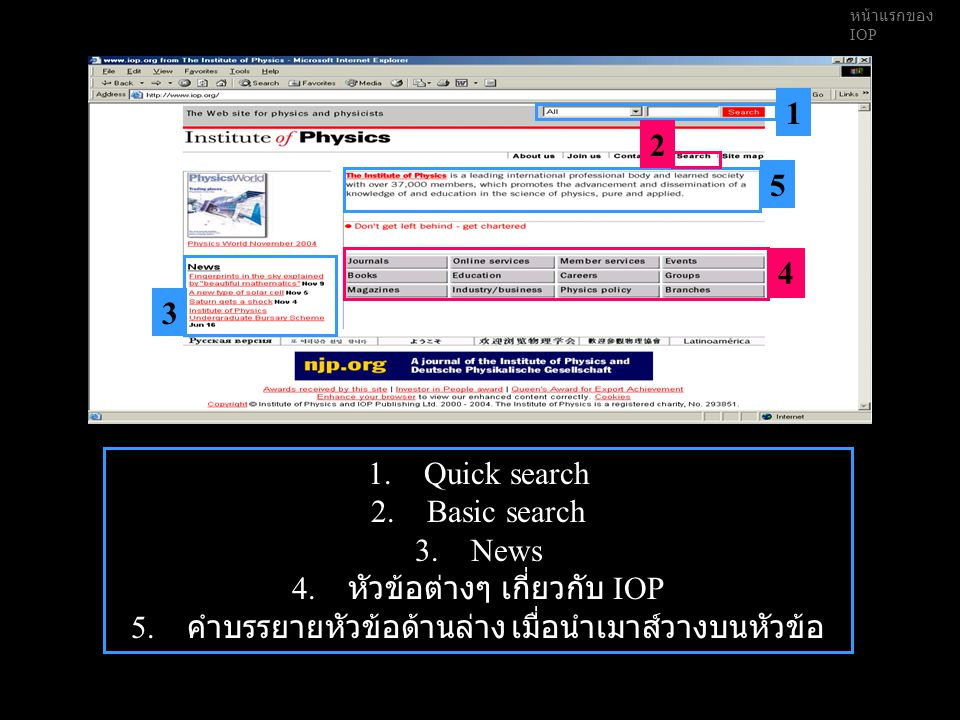 หน้าแรกของ IOP 1.Quick search 2.Basic search 3.News 4.