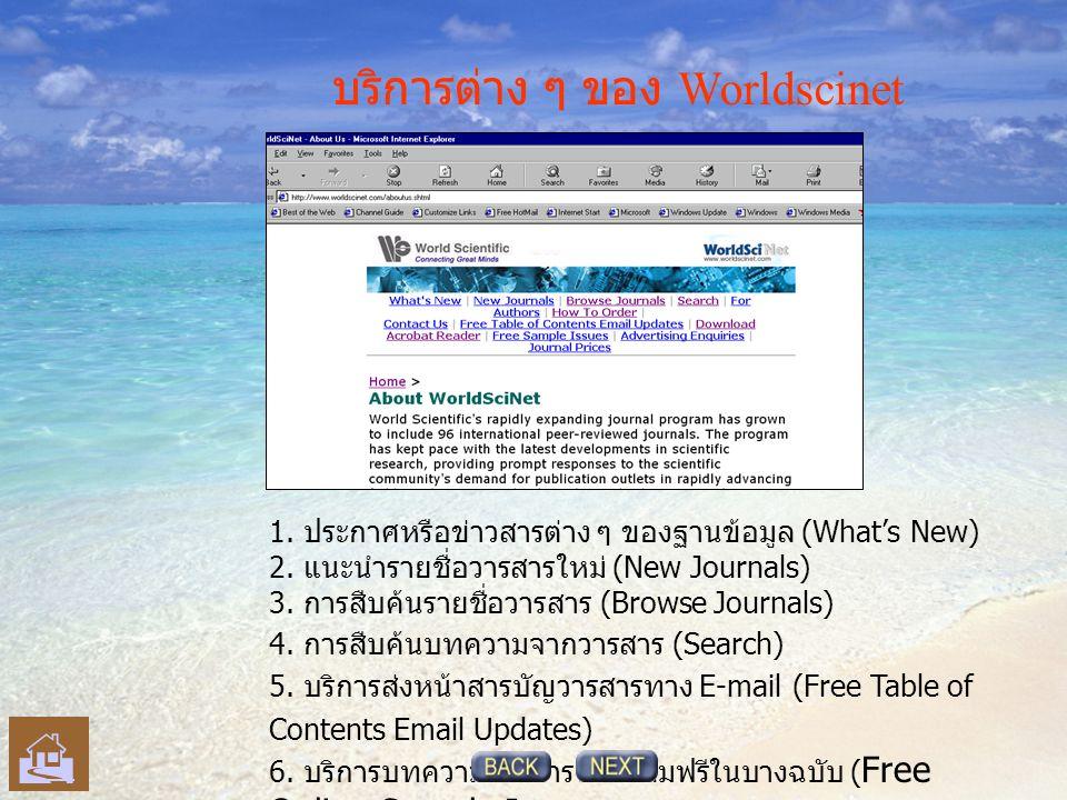 บริการต่าง ๆ ของ Worldscinet 1. ประกาศหรือข่าวสารต่าง ๆ ของฐานข้อมูล (What's New) 2.