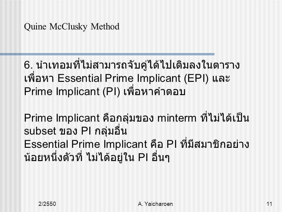 2/2550A. Yaicharoen11 Quine McClusky Method 6. นำเทอมที่ไม่สามารถจับคู่ได้ไปเติมลงในตาราง เพื่อหา Essential Prime Implicant (EPI) และ Prime Implicant