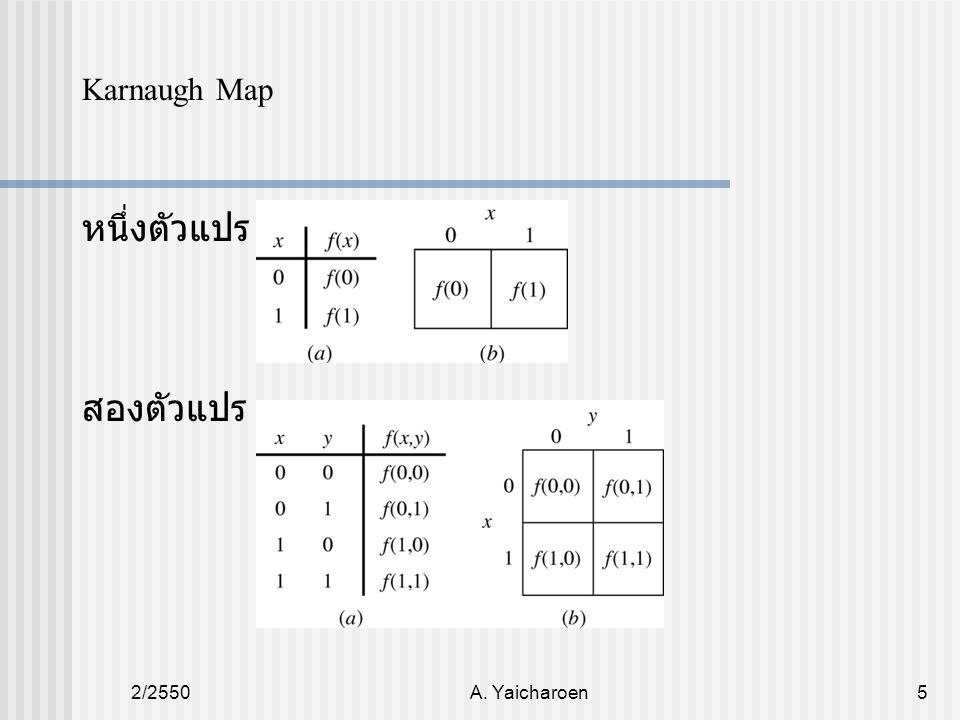 2/2550A. Yaicharoen5 Karnaugh Map หนึ่งตัวแปร สองตัวแปร